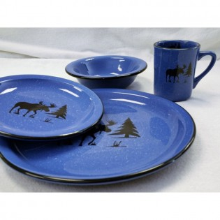 Blue dinnerware with black moose silhouette