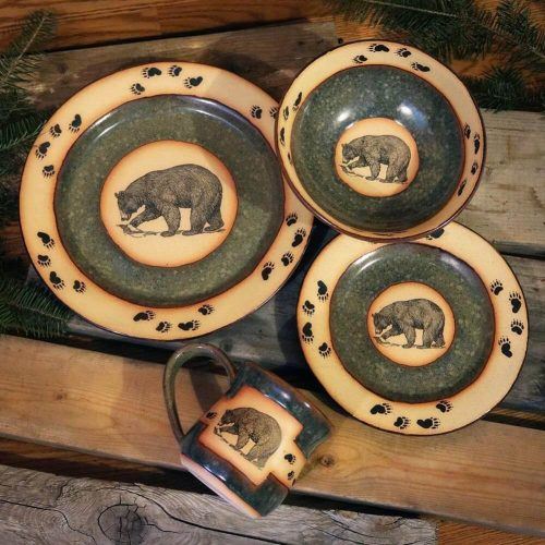 Dinnerware with bears and mountain scene
