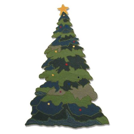 green christmas tree shaped rug
