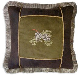Carstens embroidered pine cone pillow
