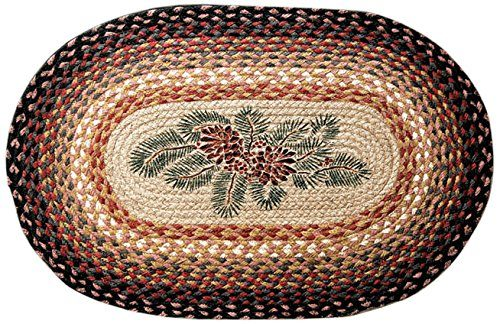 Braided rug with pine cones