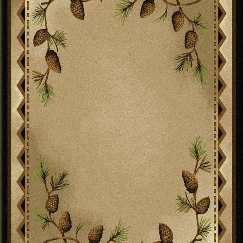 neutral color rug with artistic pine cones and branches