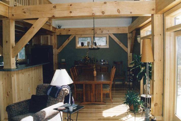 Interior of post and beam house