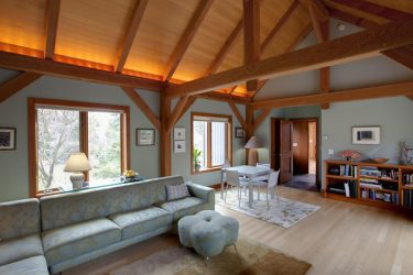 Great room in post and beam house