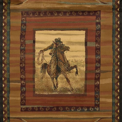 western rug depicting cowboy on horseback