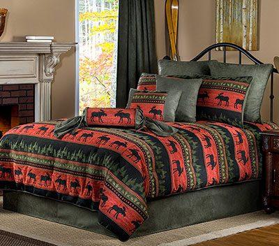 Luxury red moose comforter set