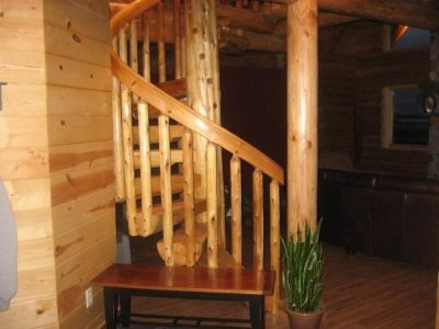 Round staircase in wood