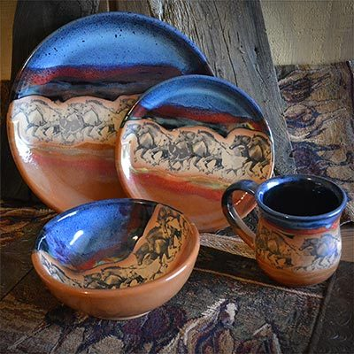 Western dinnerware with horses