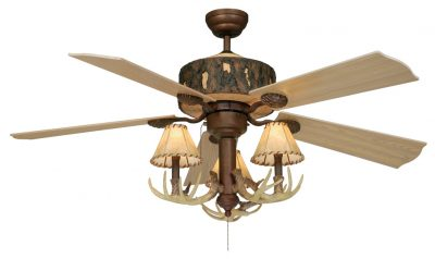 Rustic antler ceiling fan