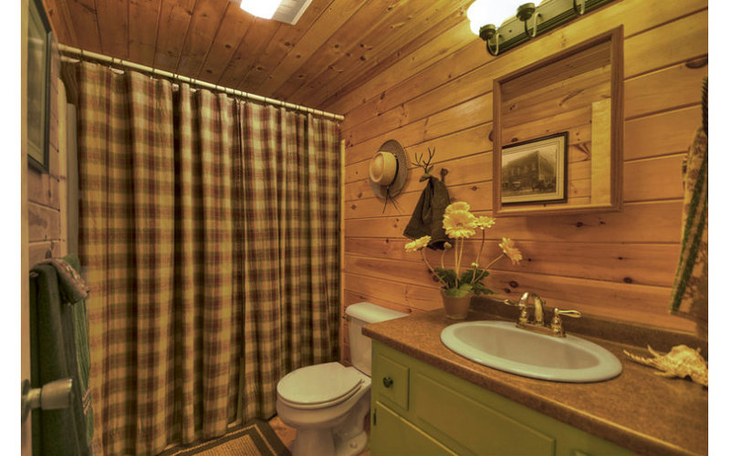 Rustic bathroom with cute accessories