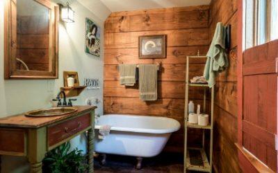 Decor in a rustic bathroom