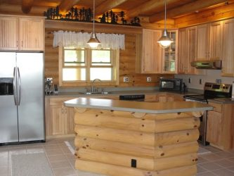 Log home kitchen island made of logs