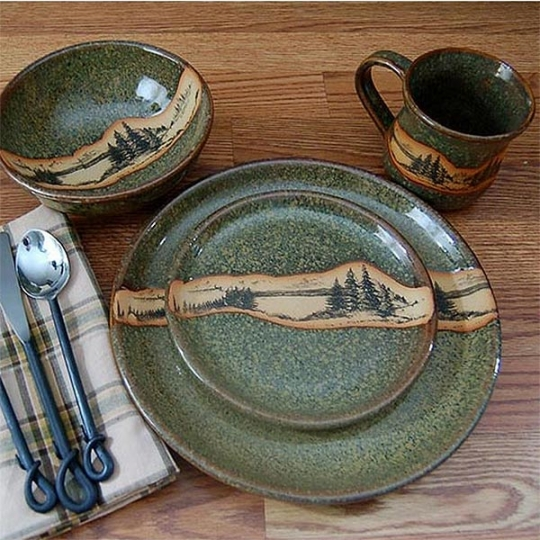 Rustic mountain scene dinnerware with green speckles