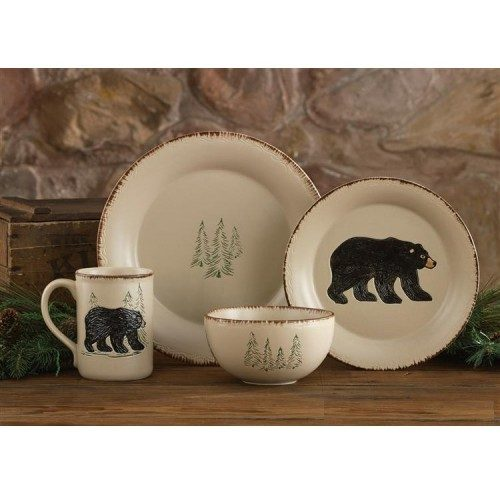 Dinnerware with bear and pine trees