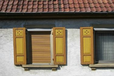 Gold and brown rustic shutters