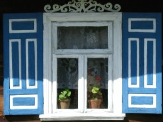 Blue and white shutters