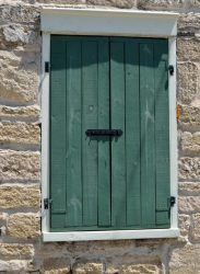 Rustic shutters that lock on the outside