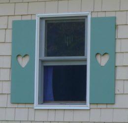 Heart cut-outs in shutters
