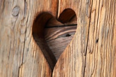 Hearts on rustic shutters