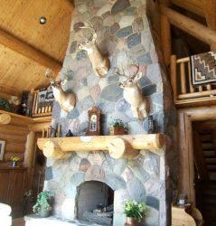 Tall stone fireplace