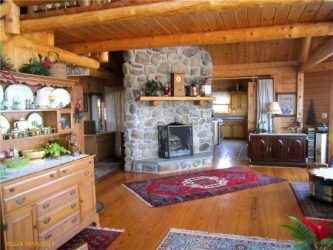 Free standing rustic stone fireplace