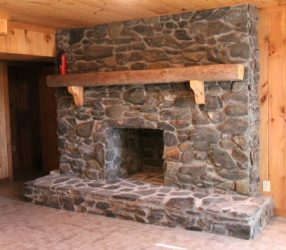 Old fashioned stone fireplace