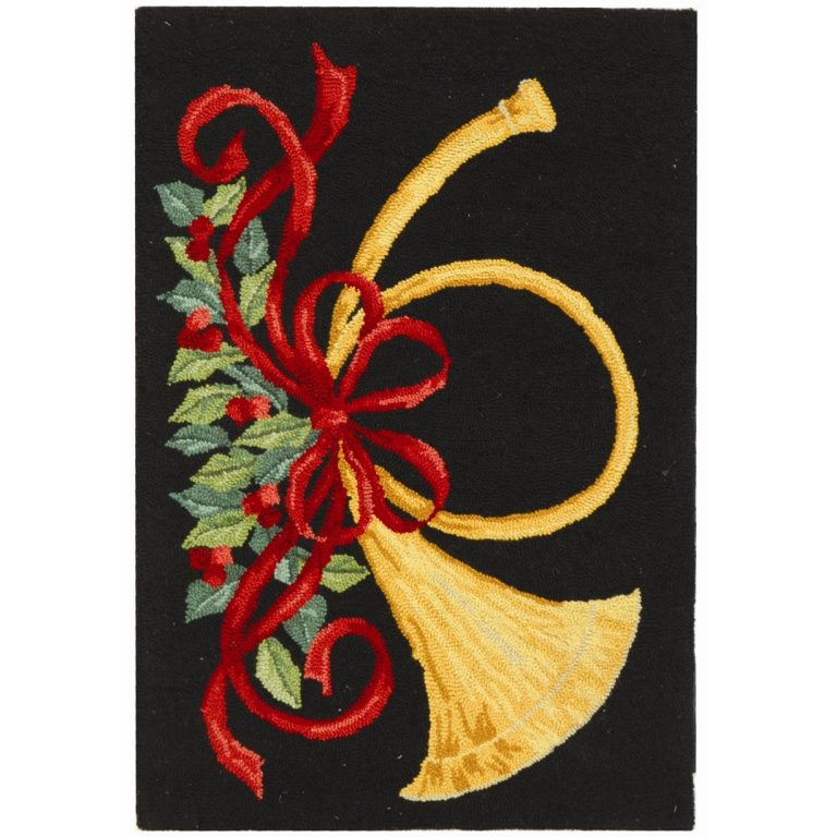 vintage french horn and holly on black background christmas rug
