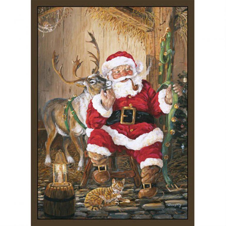 Santa and his reindeer rug