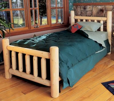 Log bed with simple design