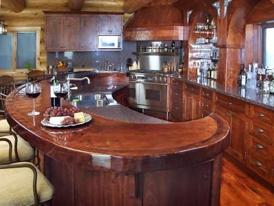 Log home kitchen is classy but small