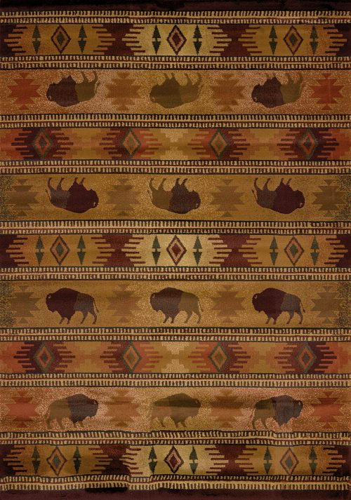 buffalo and native american symbols on a beige rug