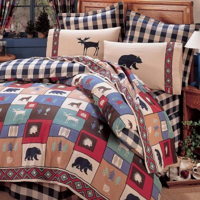 Colorful The Woods comforter set on a bed