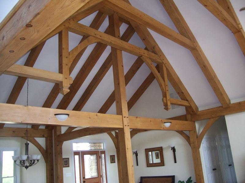 Ceiling view in a timber frame home