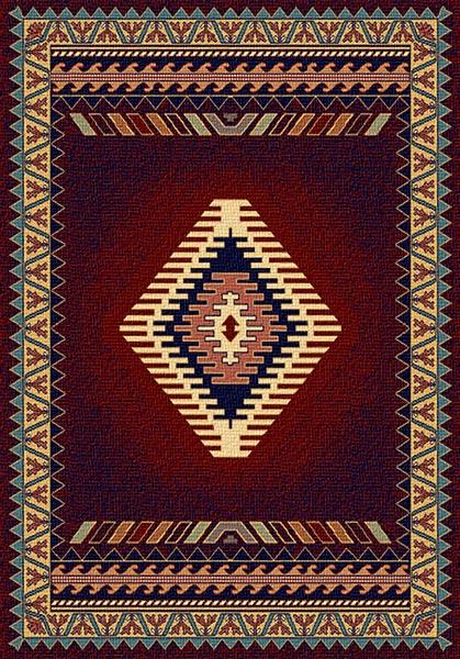 southwestern geometric diamond pattern on burgundy rug