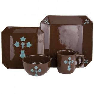 HiEnd Turquoise Cross dinnerware