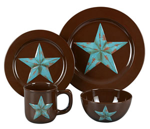 Turquoise star on brown dinnerware