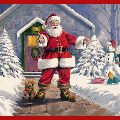 Milliken welcome santa area rug by artist Ronnie McDonald