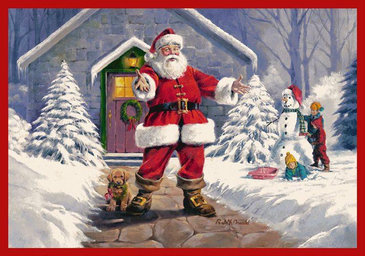 Milliken welcome santa area rug by artist Ronnie McDonald