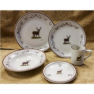 Dinnerware with brown deer and antlers around the rim