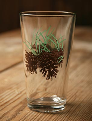 Wild Wings pinecone beverage glasses