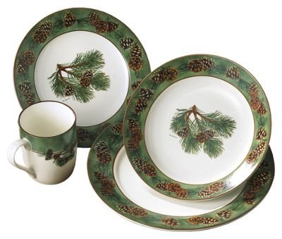 Wild Wings pinecone dinnerware