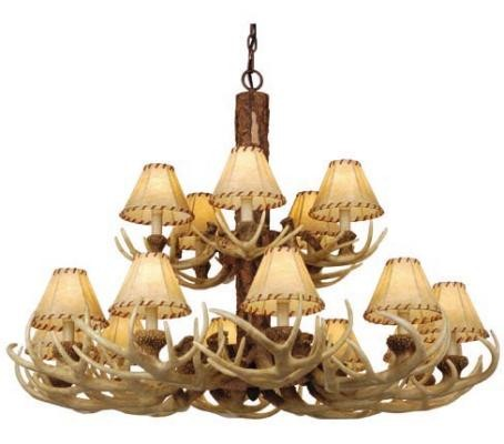 15 light faux antler chandelier with shades