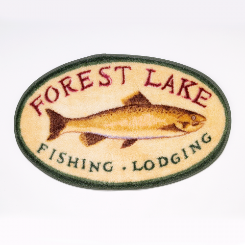 rug depicting vintage fishing lodge sign