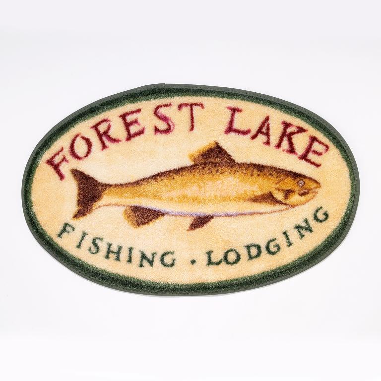 rug depicting vintage fishing lodge sign