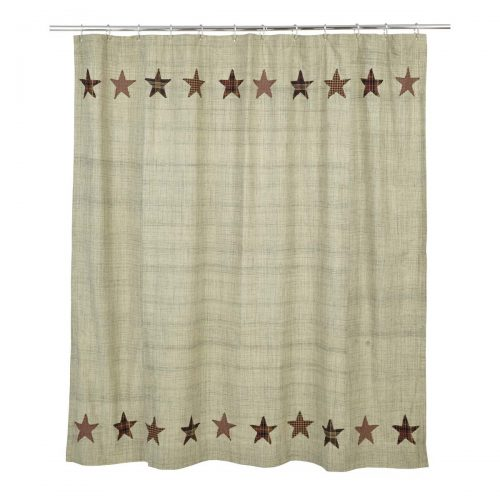 shower curtain with five point stars at the top and bottom on cream background