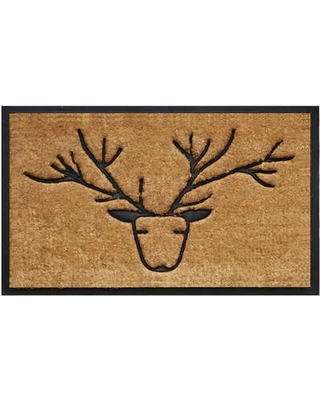 stylized deer with antler on tan coir doormat