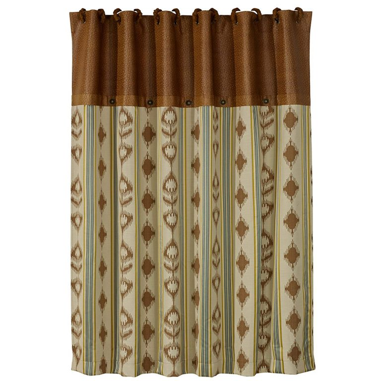 shower curtain richly styled with deep turquoise shades and neutrals blended together