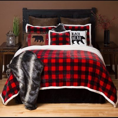 Rustic red buffalo check comforter