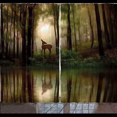 Floor length curtains with forest scene and deer