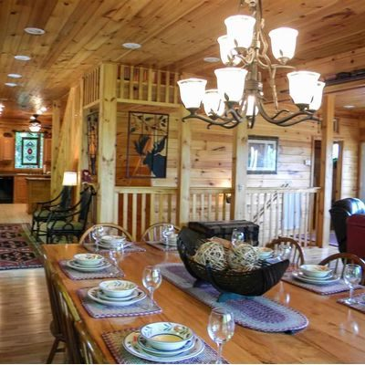 Dinner table in log home